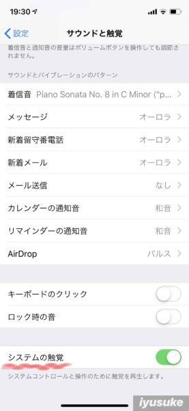 iPhone システムの触覚 設定